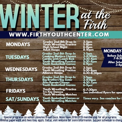 Firth Youth Center Winter Schedule